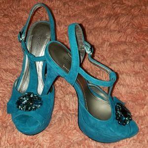 Jeweled peep-toe sandal